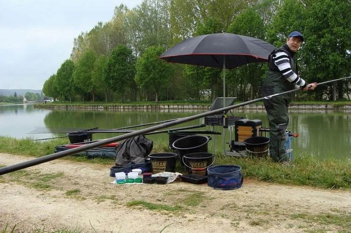 La pêche sur la carpe de la tasse
