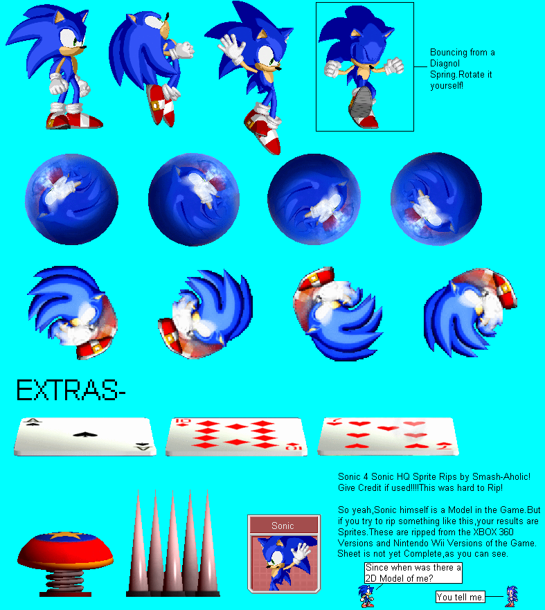 Sonic the Hedgehog 4 High Quality Sonic Sprite Rips!